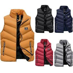 Puffer жилет Мужчины Легкий вниз жилет Homme зима теплая пузыря пальто Zipper Up Stand Collar Жилет Mens пуховик Light 201104