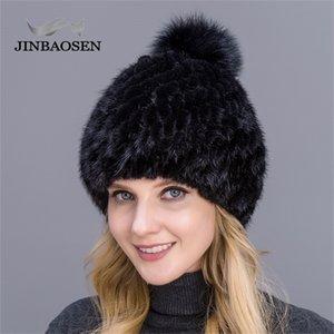 Jinbaosen NUEVO Femenino grueso Venta caliente Real Mink Ladies Winter Knit Water Hat con pompones de piel de zorro Y201024