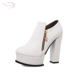 Chainingyee Nightclub Confortável Redondo Toe Toe Botas Zipper Plataforma Branco Black Blue High-Heeled Womened Boots1