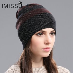 IMISSU Herbst Frauen Hüte Mütze Gestrickte Echtwolle-Skullies Casual Cap Gorros Bonnet Femme Casquette Hut für GirlsX1023