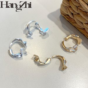 HANGZHI 2020 New S925 Quality Geometric Irregular Abstract Metal Flowers Stud Earrings for Women Girls Plated Earrings Jewelry