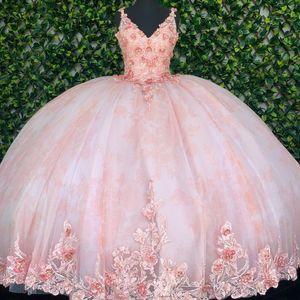Pink Puffy Sweet 16 Quinceanera Dresses with 3D Applique Lace V Neck Spaghetti Straps Corset Dress vestidos de quinceañera Party