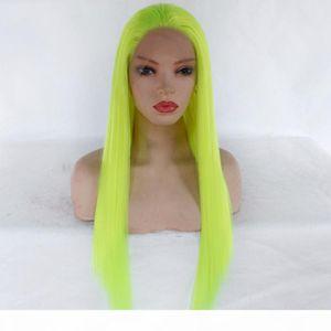 Fluorescent Grün Farbiger glattes Haar Perücke Glueless synthetische Haar-Spitze-Stirnseite Perücken für Frauen Restyleable Grün Synthetic Full Wig