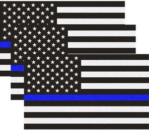 Réfléchissant US Flag Packs Decal avec Thin Blue Line pour Voitures, camions, 5 x 3 pouces américain Drapeau Etats-Unis Decal Honorer loi sur la police