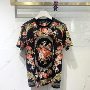 2020 summer fashion new men's short-sleeved T-shirt high-quality crown flower digital printing, comfortable and breathable, men's
