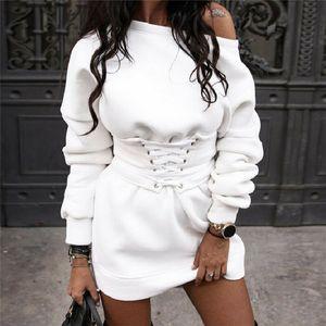 Autumn winter winter women's Mini Skirt 2020 new bare shoulder high waist shoelace long sleeve coat solid skirt