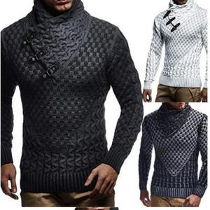 Männer Qualitäts-Pullover Turtelneck Sweater Kaschmirwolle Luxus Pullover Farben-Block-Horn-Knopf