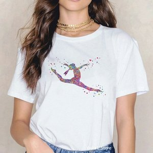 Zogankin T-shirt per le donne Acquerello Gymnastics Stampa Arte Stampa Cotton Tee Shirt Femme Estate New Fashion Shite T Shirt Gymnast Regalo # J58Y