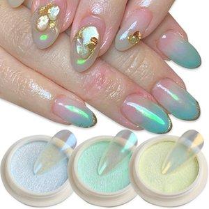 1box Solid Aurora Nail Glitter порошок русалка зеркало хрома пигмент пыли кисть хамелеон маникюр ногтей украшения Lyss01-06