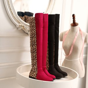 PQECFS Big size 34-44 high quality hot sale leopard mixed-color slip on flock thigh high riding boots black color
