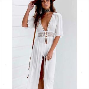 Summer Women Bikini Boho Beach Dress Vestidos Beachwear Swimwear Kaftan Split Deep V Hollow Out Lace up Long Maxi Dress designer clothes