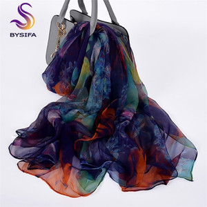 [BYSIFA] Ladies Silk New Long Fashion Brand Scarves Elegant Purple Blue Neck Scarf Beach Shawl Cover-ups 201023