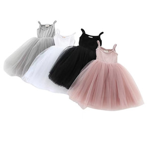 DUDU Quality INS 4 Colors Baby girls Lace Tulle Sling dress Children suspender Mesh Tutu princess dresses summer Boutique Kids Clothing