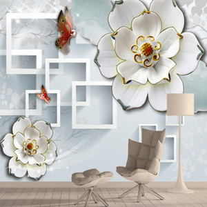 Custom House Home Decor 3d Wallpapers Murals for Living Room Desktop Walls Paper Contact Peel Stick Flower Brick Green Rolls