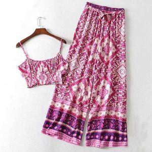 Boho Inspired Floral Print 2 조각 세트 빈티지 슬리브 짧은 상단 Elastic Maxi Pant 여름 Boho 캐주얼 2020 여성 세트 LJ201117
