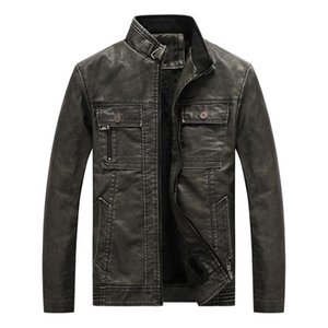 Men's Fur & Faux KIMSERE Mens Warm Leather Biker Jackets And Coats Fleece Lined PU Motorcycle Outerwear Clothing Plus Size XL-6XL