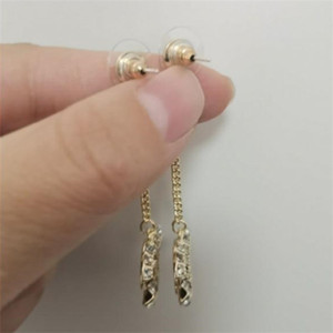 Have stamp fashion letter hoop diamond double gold earrings aretes orecchini for women party wedding lovers gift jewelry with box v555