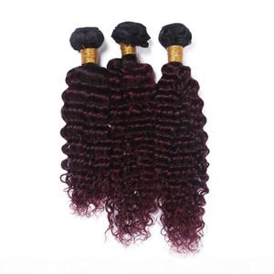 Brazilian Wine Red Ombre Human Hair Weave Bundles Deep Wave 3Pcs Dark Root #1B 99J Burgundy Ombre Virgin Remy Human Hair Extensions