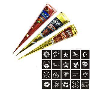 Tatuaggi Insieme di trucco indiano Henna Tattoo Art Paste tatuaggio temporaneo Abito da sposa fai da te utensili temporanea Disegno Body Art + Sticker Set