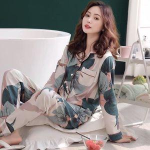 Aipeace Nightdresses Cats Long Mouw Top + Broek Летние очники 2 STUKS Pajamas P.j. Устанавливает женщин