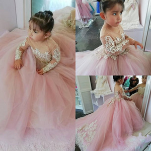 2021 Pink Flower Girls Dresses Princess Long Sleeves Sheer Jewel Neck Lace Appliqued Little Girls First Communion Pageant Gowns AL7318