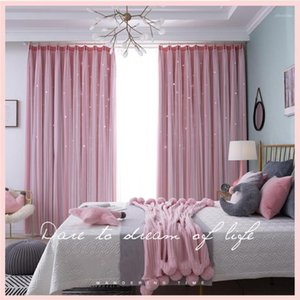 Blackout Curtains Hollowed Out Stars Window Curtains For Living Room Bedroom Double-Layer Drapes Modern Room Tulle1