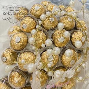 50PCS chocolat Emballage boule 4cm / 5cm / 6cm acrylique transparent Candy Box Favors mariage Macaron Paquet Fournitures de cuisson bébé douche Idées douces