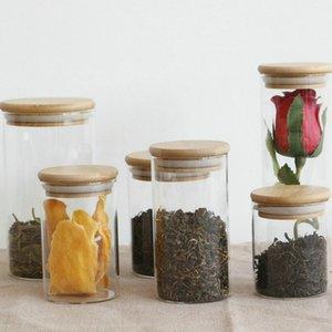 Cozinha transparente canisters de vidro jar rolhas de armazenamento cobrem frascos de frascos para alimento líquido de areia garrafas de vidro amigável com bambu gwe4243