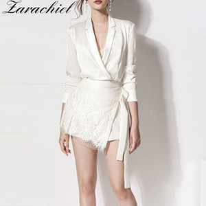 Office Ladies Two Piece Set Women Long Sleeve Notched Double-breasted Satin Silk Shirt Suit + Sashes Lace Mini Skirt Set 201012