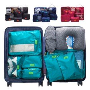 Zip ile 7pcs Seyahat Giyim Çantası Su geçirmez Bagaj Dolap Battaniye Çanta Bavul Dolap Organizatörler Giyim Düzenli Kılıfı