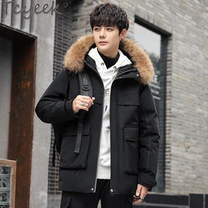 Tcyeek Winter Women Down Jacket Men Korean Style Thicken Hooded Woman Parkas Warm Raccoon Fue Collar Chaqueta Hombre 2020 LW4544