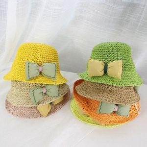 New Baby Hat Sombrero del arco de verano Sombrero de paja para niños Sol para Baby Girl Boy Beach Cap Bloque de sol UV Protección Panamá Hueso P1FI #