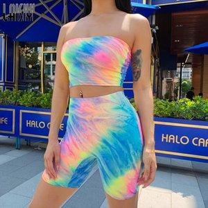 LAISIYI Женщины моды Tie Dye печати Красочный Tank Top Biker Shorts Два Piece Set Осень Crop Топы Tracksuit Streetwear