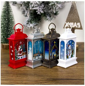 Christmas Lantern Portable Mini LED Light Decoration Painted Lamp Halloween Christmas Outdoor Tree Hanging Light 4 Patterns DHD2879