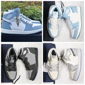 Neue Version Oblique Jumpman 1 Herren-Basketball-Schuhe für hohe Qualität 1s Grau, Schwarz, Blau Trainer Männer Sport-Turnschuhe Größe 40-46