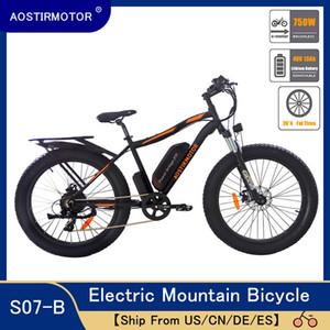 AOSTIRMOTOR Электрический велосипед 750W снег велосипед Электрический горный велосипед Велосипед 26inch 4,0 Fat Tire Ebike 48V 13Ah батарея лития