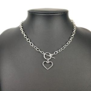 fuyo ouro Sliver Cor Coração Colares Collar Chunky Vintage Colar de cadeia por Mulheres Choker colares moda jóias