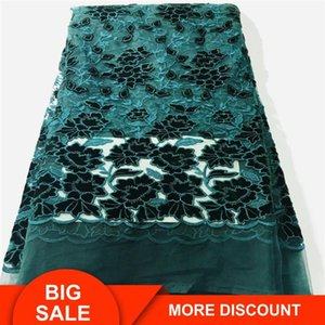 wholesale china fabric deep green market good price dark green latest fashion cord embroidered fabric for dress