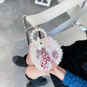 New Kids Designer Handbags Girls Deer Pearl Princess Messenger Bags Children Cartoon Deer Change Purse Plaid Shoulder Bags S845