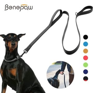 Benepaw Reflective Padded Dog Leash Two Handle Durable Small Medium Large Dog Pet Training Leash Nylon Lead 7 Colors 1020