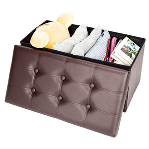 Hot sale Home furniture Living brown Multi-Function Folding Stool Storage Ottoman Footstool Practical PVC Leather rectangle Shape Footstool