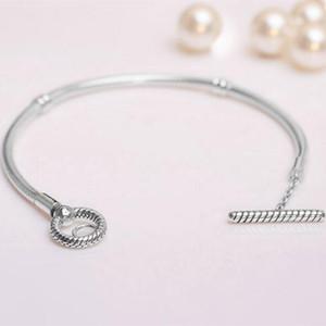 2020 NUOVO S925 argento Momenti Bracciale T-Bar della catena del serpente Adatto monili europei di stile Pandora Fascino e Perline