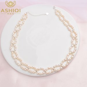 ASHIQI Natural Pearl Choker Necklace 925 Sterling Silver Beads For Women 3- Freshwater Pearl Collares Jewelry LJ201009