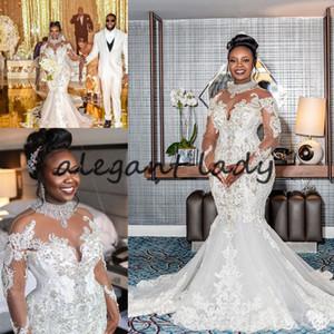 Plus Size Mermaid Wedding Dresses abiti da sposa sirena 2021 Sparkly Crystal Lace Aftican Nigerian Long Sleeve Wedding Gown