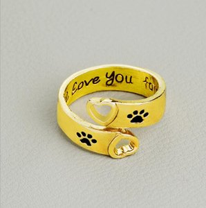2020 New I will love you forever love dog paw hollow ring