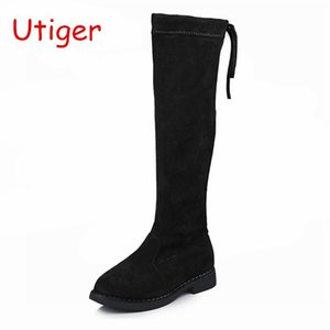 Child Girls High Boots Kids Princess Dress Boots for Girls Shoes Children Over-the-Knee Flock Warm Shoes with Fur