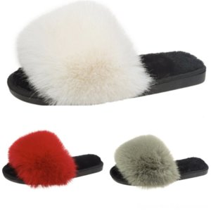 VDVSM Flip Flaks Color Puro Mujeres Soft Slippers Fluffy 2021 Pelquete Slipper Warm Hogar Mobiliario antideslizante Bow Cotton-Padded Slippers