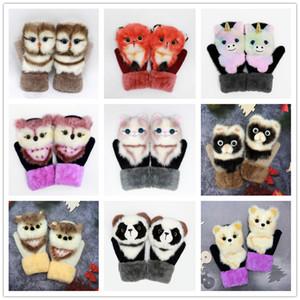 Hot Selling Women Men Winter Knitted Gloves Cute 3D Fluffy Cartoon Animal Thermal Mittens Cartoon plush knitting Gloves