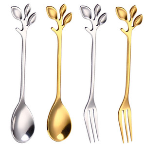 2020 new Stainless steel Tree branch Spoon fork gold dessert coffee spoons Home Kitchen Dining Flatware Stirring spoon with fast shipment