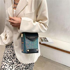 Nova tendência Mulheres Bolsa de Ombro Venda Bling Glitter Crossbody Bags Móvel Chain Chain Bag Ladys Ladys Luxo Couro Verde Mão
